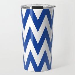 Team Spirit Chevron Royal Blue and White Travel Mug