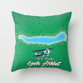 loch Arklet map Scotland  Throw Pillow