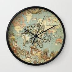Book Traveler Vintage Map v3 Wall Clock