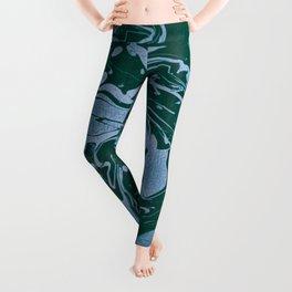 Flooded Grasslands - green blue swirl abstract pattern Leggings
