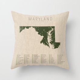 Maryland Parks Throw Pillow