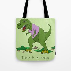 T. Rex in a V-neck Tote Bag