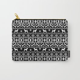 Bloodhound fair isle christmas sweater black and white minimal dog silhouette holiday gifts Carry-All Pouch