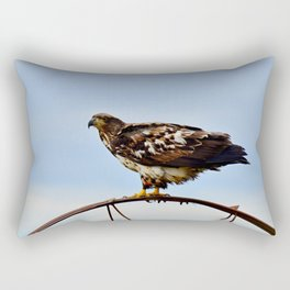 Young Bald Eagle perching on the Wheel Rectangular Pillow
