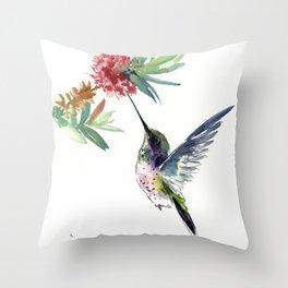 Hummingbird. elegant bird and flowers, minimalist bird art beautiful bird painting Throw Pillow