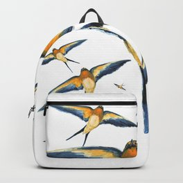 Flying around Swallows watercolours illustration Backpack