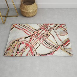 Bones (White and Red Abstract Lines) Rug