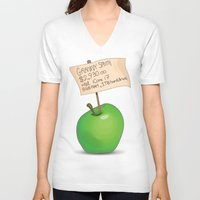 apple V-neck T-shirts featuring Apple by James Thornton