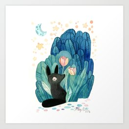 Wolf and Tulip Art Print