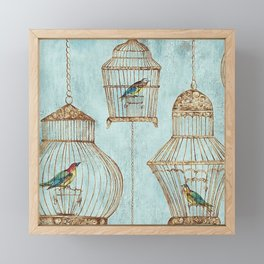 Vintage dream- Exotic colorful birds in cages on teal background Framed Mini Art Print