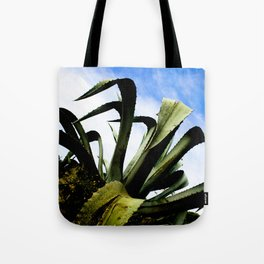 Large Giant Green Aloe Plant with Bright Blue Sky Tote Bag