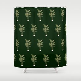 Green Indoor Plant Pattern Shower Curtain