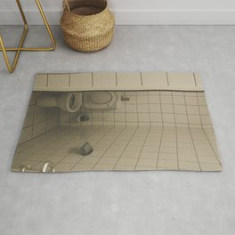 Toilet with white tiles all over Rug