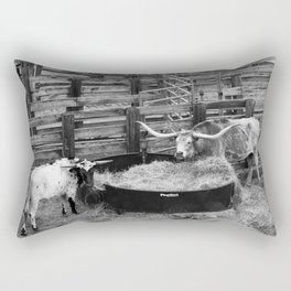 Two Longhorn Cows in the Stockyards - Fort Worth, TX Rectangular Pillow