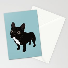 Brindle Frenchie likes to go for a walk to meet some friends Stationery Cards