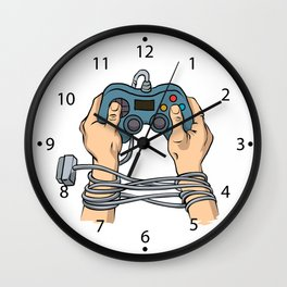 Hands tied by wire Wall Clock