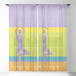 Drawing silhouette of woman doing yoga Sheer Curtain