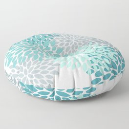 Floral Pattern, Aqua, Teal, Turquoise and Gray Floor Pillow