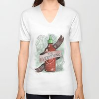 sriracha V-neck T-shirts featuring An Ode To Sriracha by Drunk Girl Designs
