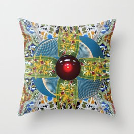 Laelia Orchid Jet Rotor Mandala Throw Pillow