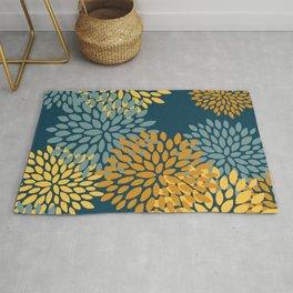 Modern Flowers Print, Dark Teal and Yellow Rug