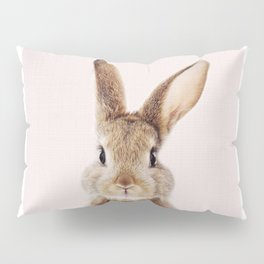 Baby Rabbit, Bunny With Pink Background, Baby Animals Art Print By Synplus Pillow Sham
