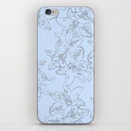 blue line art flower pattern iPhone Skin