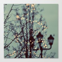 twilight Canvas Prints featuring Winter Lights by elle moss