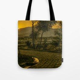Tropical Landscape Sunset Scene Tote Bag