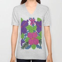 Tropical Hibiscus Bouquet Unisex V-Neck