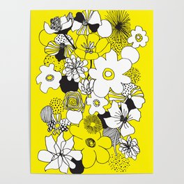 Floral Medley - Yellow Poster