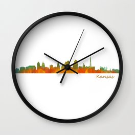 Kansas City Skyline Hq v1 Wall Clock