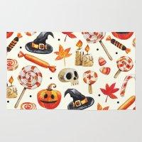 halloween Area & Throw Rugs featuring halloween by Ceren Aksu Dikenci