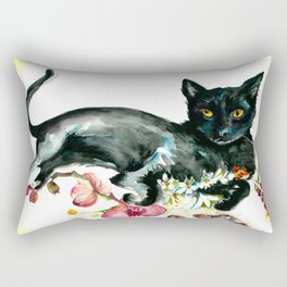 Coffee, Orchid and Black Cat Vintage Style Large Format XXL Rectangular Pillow