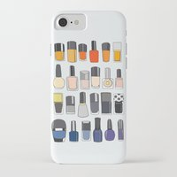 nail polish iPhone & iPod Cases featuring my nail polish collection by uzualsunday
