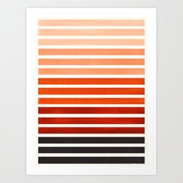 Watercolor Gouache Mid Century Modern Minimalist Colorful Burnt Sienna Stripes Art Print