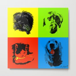 lovely dogs and cat pop style - one big family Metal Print