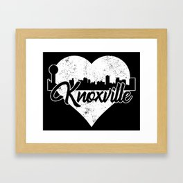 Retro Knoxville Tennessee Skyline Heart Distressed Framed Art Print