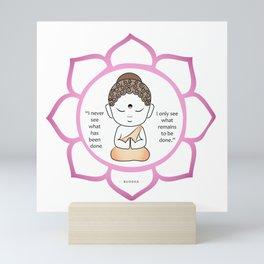 Cute little Buddha in a lotus flower Mini Art Print