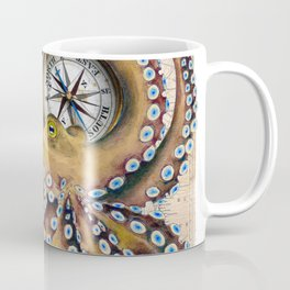 Octopus and Compass Collage Map Coffee Mug
