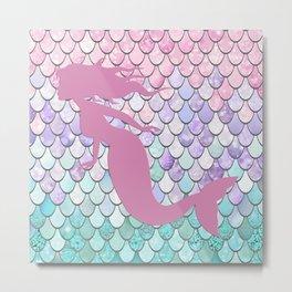Mermaid Silhouette, Pastel Pink, Purple, Teal Metal Print