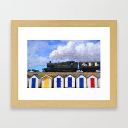 Steam Train, GWR Hercules, above Beach Huts at Goodrington Sands,  Framed Art Print