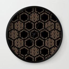 Japanese Waves Gold Art Deco Honeycomb Pattern Wall Clock