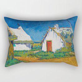 Three White Cottages In Saintes Maries By Vincent van Gogh Rectangular Pillow