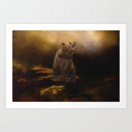 Roaring grizzly bear Art Print