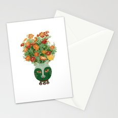 Marigolds in cat face vase  Stationery Cards