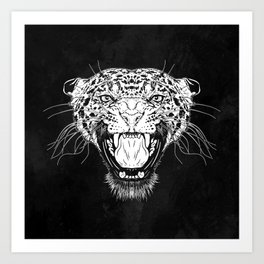Illustration with a head of a leopard in white on a dark background Art Print