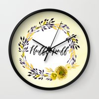 hufflepuff Wall Clocks featuring HP Hufflepuff in Watercolor by Snazzy Sisters