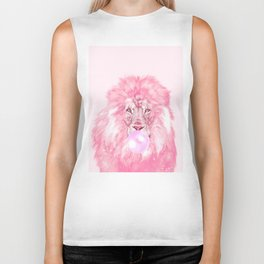 Lion Chewing Bubble Gum in Pink Biker Tank