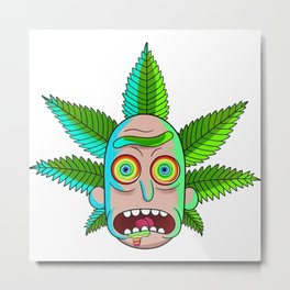 Morty and Rick 420 Smoke weed everyday Metal Print